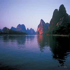 Li River reflections - China H055 (sizes: 600x600; 900x900; 1080x1080mm)